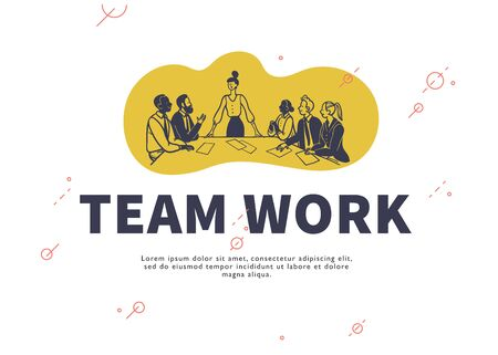 Multiracial office people sitting at table discussing business projects on white background. Hand drawn doodle sketch style. Creative projects concept, team work, partnership. Vector illustration.