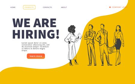 Web page design template with multiracial business people isolated,  employment and recruitment concept. Hand drawn sketch doodle style. UI, UIX, mobile app. Vector illustration. Stock fotó - 135184952