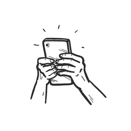 Human hands holding smartphone. Using mobile service concept. Hand drawn sketch style. Online sale, order online. Vector illustration. Illusztráció