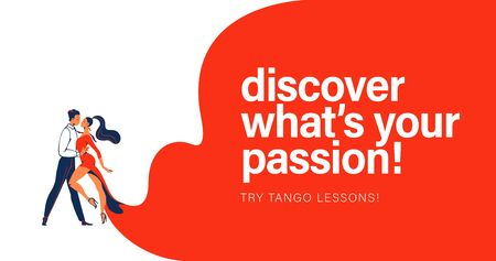 Vector illustration with dancing pair man and woman in red dress and text slogan Discover whats your passion. Banner for tango lessons, workshop, dance studio.