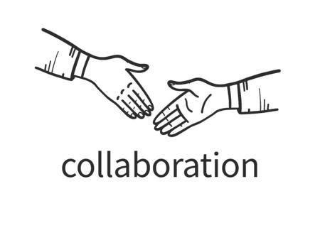 Business man hands shake hand drawn concept. Office people shaking hands. Human hands doodle sketch style, contour drawing. Partnership, collaboration, deal. Vector illustration. Illusztráció