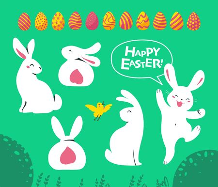 Set of Easter white bunny characters sitting, smiling, jumping and yellow little bird isolated on green floral background. For holiday cards, prints, banner design decor etc. Flat vector illustration. Illusztráció