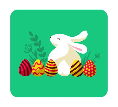 Easter card with white bunny character silhouette sitting isolated and decorated eggs on floral green background. For holiday cards, prints, banner design decor etc. Flat style, vector illustration. Illusztráció