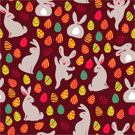 Easter seamles pattern with decorated eggs and egg hunt bunny smiling characters silhouettes. For holiday cards, packaging paper, banner, etc. Vector illustartion.
