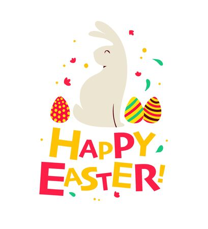 Happy Easter congratulation card with text greeting, eggs and bunny character isolated. For holiday cards, prints, banner design decor etc. Flat style, vector illustration. Stock fotó - 136979490