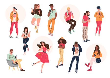 Group of young stylish people with smartphones chatting, internet serfing, smiling isolated on white background. Vector illustration. Illusztráció