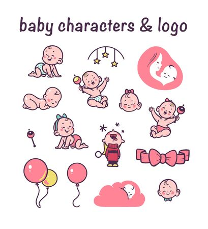Collection of cute little boys and girls characters sitting, crawling, sleeping happy isolated on white background. Baby and mother care. Kid clack, bed mobile, air balloon. Vector flat illustration.