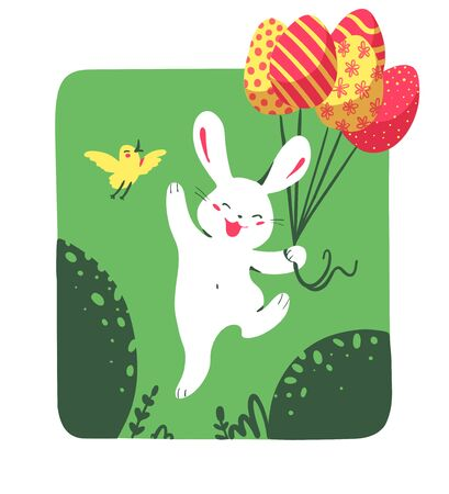 Easter happy white bunny character with air balloons like easter eggs and bird isolated on green nature background. For holiday cards, prints, banner design decor etc. Flat style, vector illustration. Illusztráció