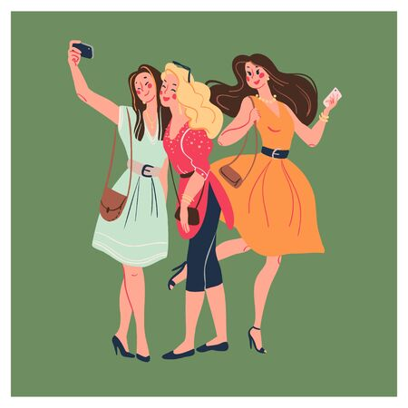 Group of young stylish beautiful modern lady girls with smartphones and making selfie together isolated on green background. Vector flat illustration. Illusztráció