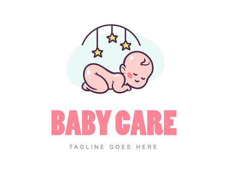 Baby logo design with sleeping naked cute baby and bed mobile toy symbol isolated on white background. Baby care , emblem for kid goods, toys and accessory. Vector flat illustration.