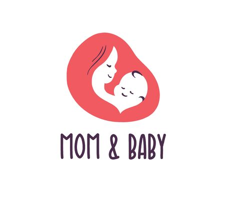 Mom and baby with baby and mother face and head silhouettes isolated on white background. Baby health care, kid clinic, happy motherhood emblem. Vector flat illustration.