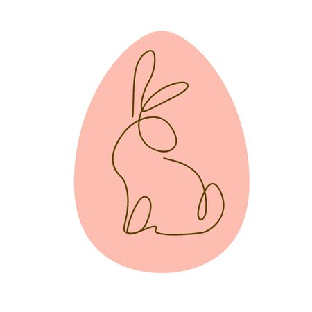 Easter egg decor design with outline bunny character silhouette sitting isolated. Line art icon. For holiday cards, prints, banner design decor etc. Flat style, vector illustration. Illusztráció