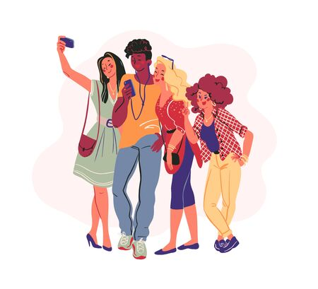 Group of young stylish modern teenagers people with smartphones and making selfie together isolated on white background. Vector flat illustration.