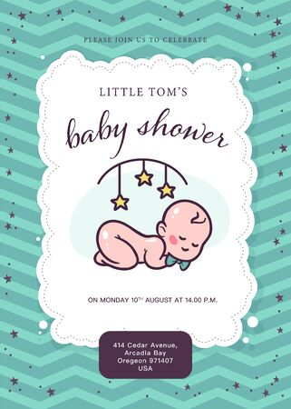 Baby shower card / invitation / poster design template with cute baby boy infant in bow tie, rattle toy, pattern isolated. Vector flat illustration. Stock fotó - 137937558
