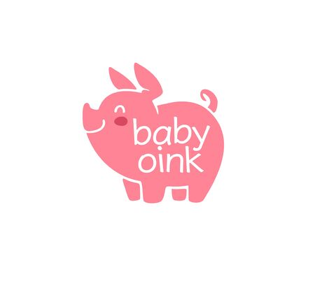 design for kid toys store, market, boutique with cute oink little pig character silhouette isolated on white background. Baby accessories boutique emblem design. Vector flat illustration. Stock fotó - 137937560