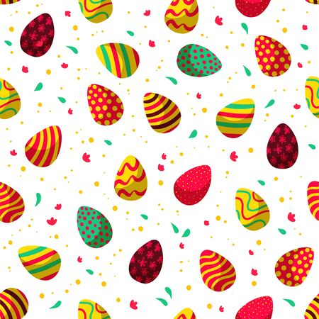 Easter seamless pattern with decorated eggs, confetti isolated on white background. For holiday cards, packaging paper, banner, etc. Vector illustration. Illusztráció