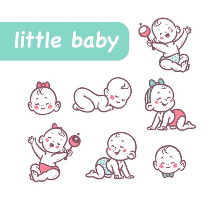Little baby infants boys and girls characters sitting, playing with rattle, crawling, sleeping, smiling isolated on white background. Vector flat cartoon illustration. Illusztráció