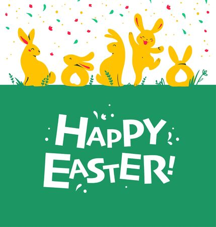 Easter card design with bunny characters sitting, jumping, smiling isolated on green grass. Typography greeting. For holiday cards, prints, banner design decor etc. Flat style, vector illustration.