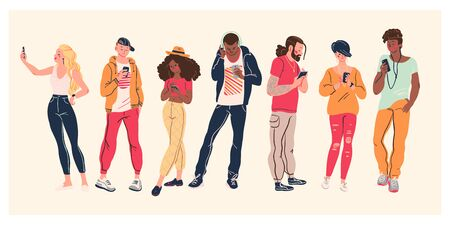 Portrait of group of young teens in stylish clothes with smartphones taking photo, making selfie, texting and surfing in internet isolated on white background. Vector flat illustration. Stock fotó - 137653812