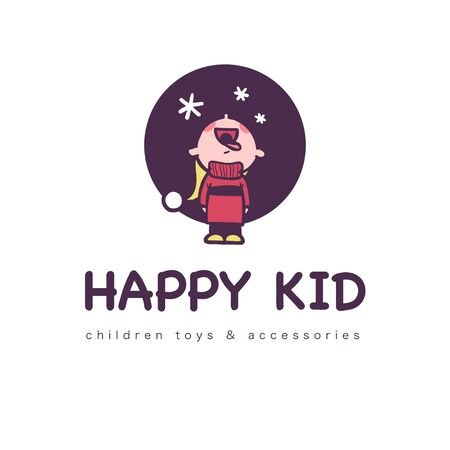 Happy kid funny with winter boy in sweater standing catching snowflakes with his mouth isolated. Emblem for children toys store, clothes, accessory shop, play room. Vector flat illustration.