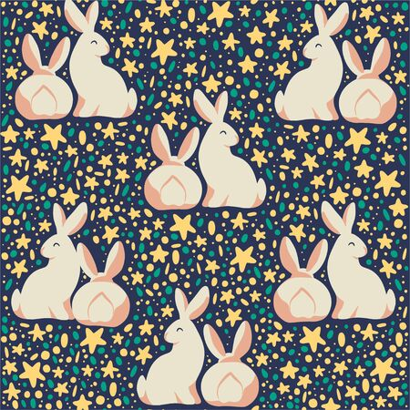 Easter seamles pattern with decorated eggs and egg hunt bunny smiling characters silhouettes. For holiday cards, packaging paper, banner, etc. Vector illustartion. Stock fotó - 137937564