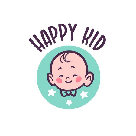 Baby with infant character head in bow tie smiling isolated on white background. For children shop, baby room, boutique accessories. Vector flat illustration. Illusztráció