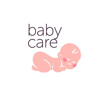 design for kid toys store, market, boutique with sleeping naked baby character silhouette isolated on white background. Baby accessories boutique emblem design. Vector flat illustration.
