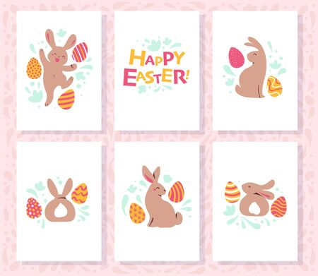 Collection of Easter congratulation holiday cards with funny cute bunny character smiling and decorated eggs isolated on with background. Egg hunt. Vector illustration.