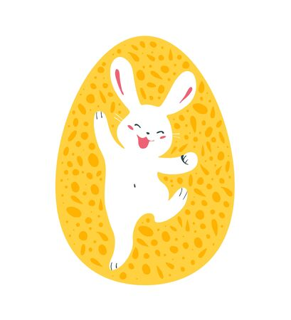 Easter egg decor design with white bunny character silhouette jumping isolated. For holiday cards, prints, banner design decor etc. Flat style, vector illustration.