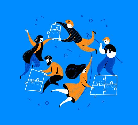 Flat connection concept with people putting together puzzle pieces isolated on blue background. Togetherness, collaboration metaphor. Vector illustration. Illusztráció