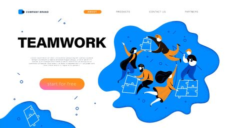 Web page design template with teamwork concept - simple abstract people putting puzzle pieces together. Connection, business team, collaboration. Mobile app, website vector flat illustration. Illustration