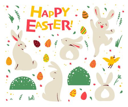 Set of Easter bunny characters sit, smile, jump and yellow little bird, easter eggs, floral elements isolated on white background. For holiday cards, prints, banner design. Flat vector illustration. Illusztráció
