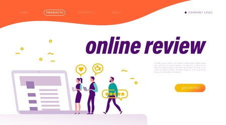 Online review concept. Landing page design, interface template, mobile app, ui. Tiny people at laptop with positive feedback icons. Vector flat illustration.