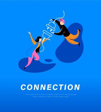 Metáfora abstracta de conexión. Personas que conectan el enchufe y el enchufe juntos. Conexión segura a internet, asociación, unión, concepto de comunicación. Vector ilustración plana. Ilustración de vector