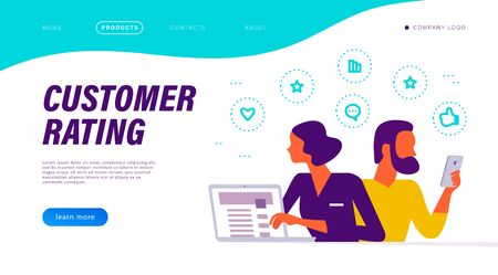 Customer rating concept with people at laptop with positive feedback line icons. Landing page design, interface template, mobile app, ui. Vector flat illustration.