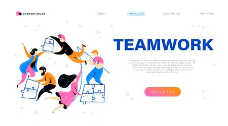 Web page design template with teamwork concept - simple abstract people putting puzzle pieces together. Connection, business team, collaboration. Mobile app, website vector flat illustration. Ilustracja
