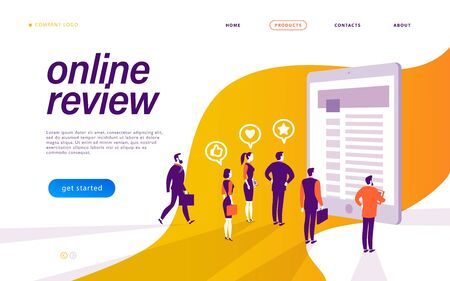 Online review concept. Landing page design, interface template, mobile app, ui. Tiny people standing at big tablet. Vector flat illustration. 向量圖像