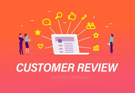 Customer review concept with tiny people standing at laptop with line icons business, positive feedback. Landing page design template, mobile app, ui. Vector flat illustration.