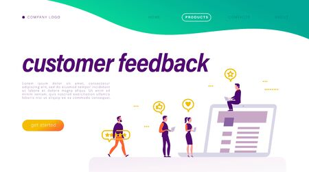 Customer feedback concept. Tiny people with positive review icons at laptop. Landing page design, interface template, mobile app, ui. Vector flat illustration.
