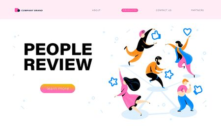 Online people review concept with tiny people and line positive feedback icons. Landing page design, interface template, mobile app, ui. Vector flat illustration.