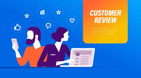 Customer review concept with man and woman users at laptop, smartphone device, positive feedback line icons. Vector flat illustration. 向量圖像