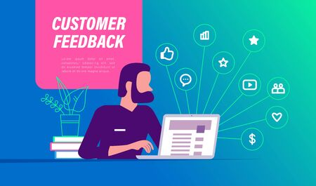 Customer feedback concept with man at laptop and business positive feedback line icons. Landing page design template, mobile app, ui. Vector flat illustration. 向量圖像