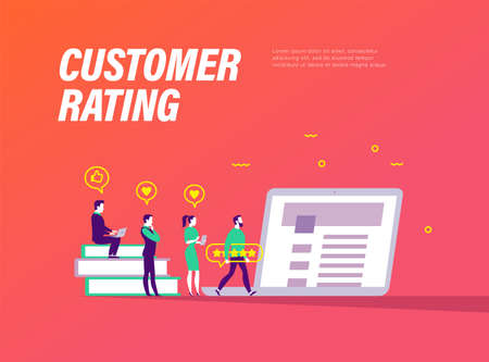 Cutomer rating concept. Tiny people with gadgets and positive feedback icons at laptop. Landing page design, interface template, mobile app, ui. Vector flat illustration.