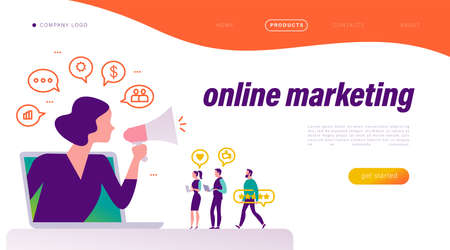 Online marketing concept. People at laptop with review icons, woman with megaphone metaphor. Communication, strategy, finance icons. Landing page design template. Vector flat illustration.