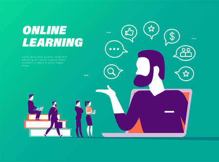 Online learning concept. People at laptop, teacher, books metaphor, video, social media, communication, search icons. Vector flat illustration. Иллюстрация