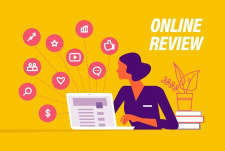 Online review concept. Young lady at laptop and positive feedback icons. Landing page design, interface template, mobile app, ui. Vector flat illustration.