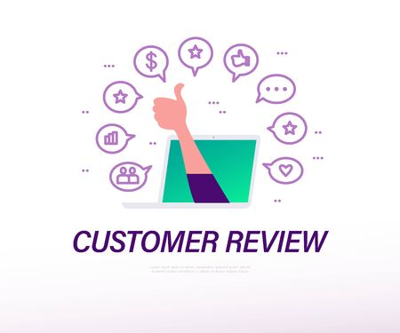Customer review concept with laptop, human hand thumb up, business and positive feedback line icons isolated on white background. Vector flat illustration.