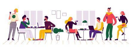 Young stylish people in coffeehouse drinking coffee at bar stand and tables, taking coffee to go, talking, communicating, working. Flat vector illustration concept in trendy colours for banner, ui.