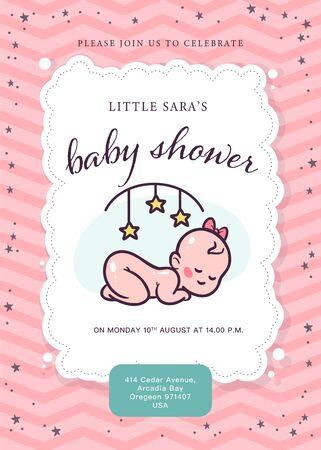 Baby shower card / invitation / poster design template with cute little girl baby infant with head bow, rattle toy, pattern isolated. Vector flat illustration.