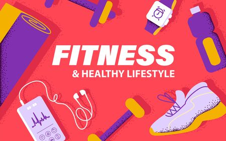 Healthy lifestyle concept with running equipment and sport outfit, smartphone with fitness app interface, earphones, smart watch, yoga mat, water bottle, footwear, dumbbell. Vector flat illustration.